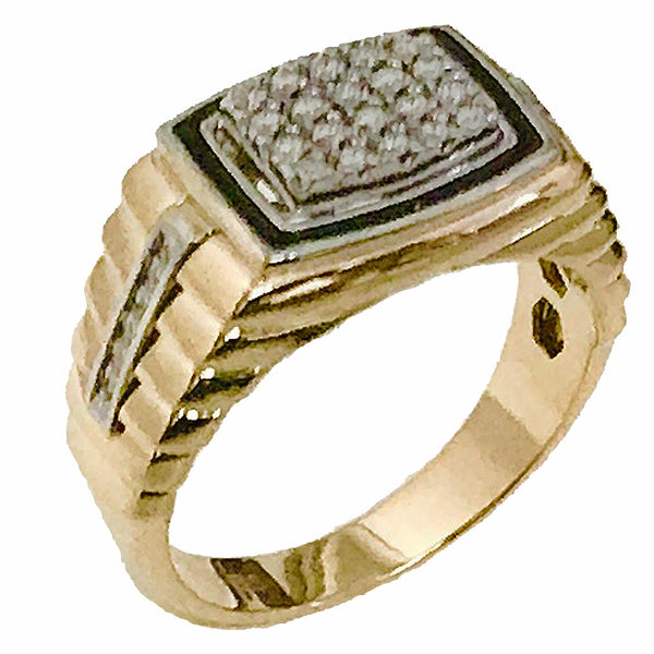 Men's pave set enamel diamond ring - EMPEROR JEWELRY CO L.L.C