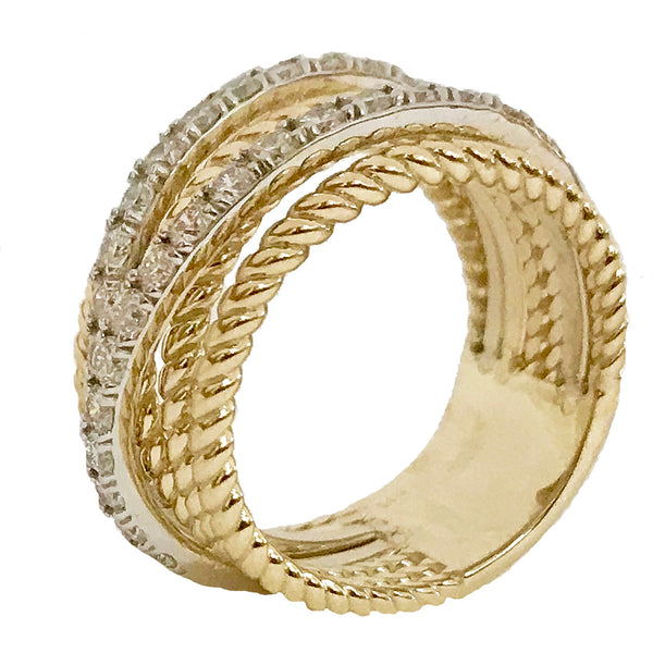 Wire cable layered diamond ring - EMPEROR JEWELRY CO L.L.C