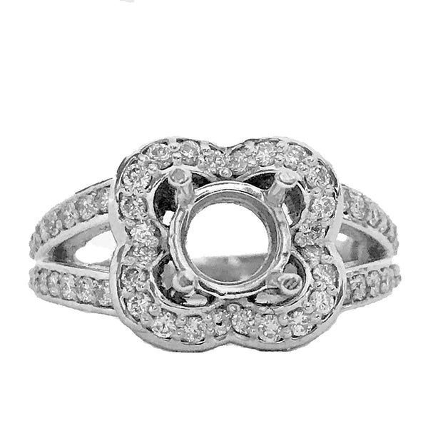 "Halo pave diamond semi mount  pave and ""v"" pave' shape shanks - EMPEROR JEWELRY CO L.L.C"