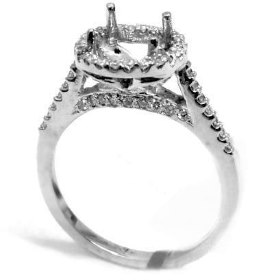 Pave halo and   gallery diamond semi mount diamond ring - EMPEROR JEWELRY CO L.L.C