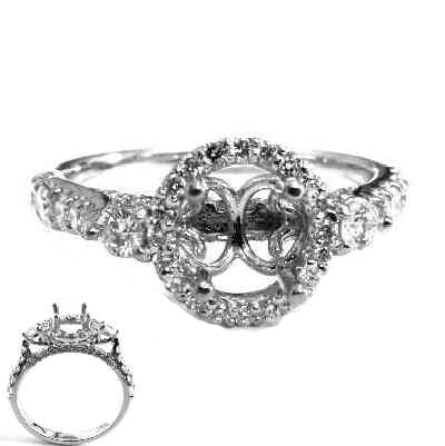 Halo pave and prong  diamond semi mount - EMPEROR JEWELRY CO L.L.C