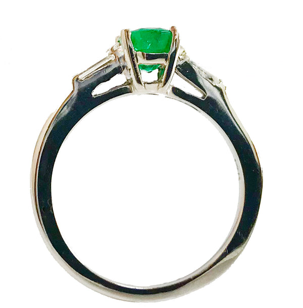 Tapered baguette diamond emerald ring