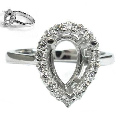 Pear shape halo diamond semi mount - EMPEROR JEWELRY CO L.L.C
