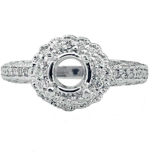 Halo pave  and shank diamond semi mount - EMPEROR JEWELRY CO L.L.C