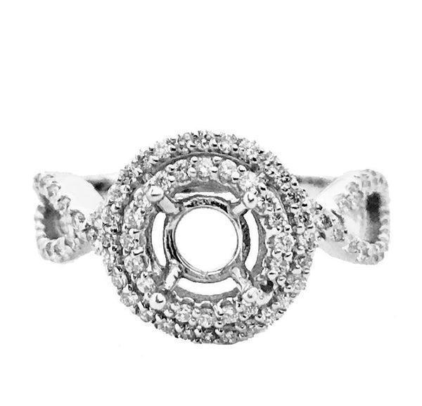 Round double halo diamond semi mount - EMPEROR JEWELRY CO L.L.C