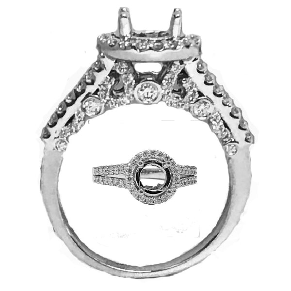 Pave and burnish set diamond  designer semi mount - EMPEROR JEWELRY CO L.L.C