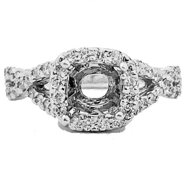 cushion shape halo infinity semi mount ring - EMPEROR JEWELRY CO L.L.C