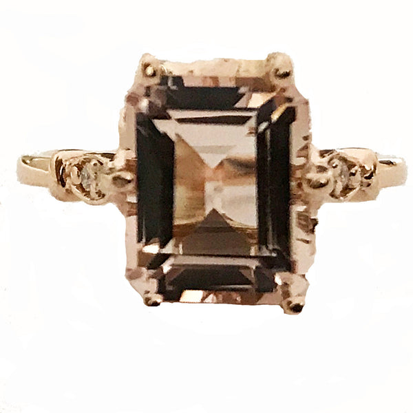 Emerald cut morganite center stone diamond ring - EMPEROR JEWELRY CO L.L.C