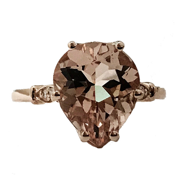 Pear shape morganite center stone diamond ring - EMPEROR JEWELRY CO L.L.C