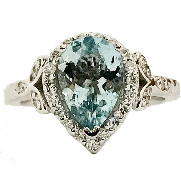 Pear shape Aquamarine diamond Aquamarine ring - EMPEROR JEWELRY CO L.L.C