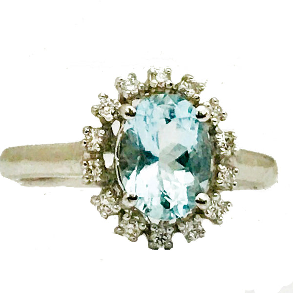 Oval aquamarine  halo  pave' diamond ring - EMPEROR JEWELRY CO L.L.C