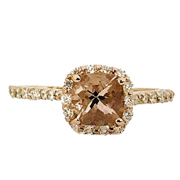 Cushin cut Morganite center stone diamond cocktail ring - EMPEROR JEWELRY CO L.L.C