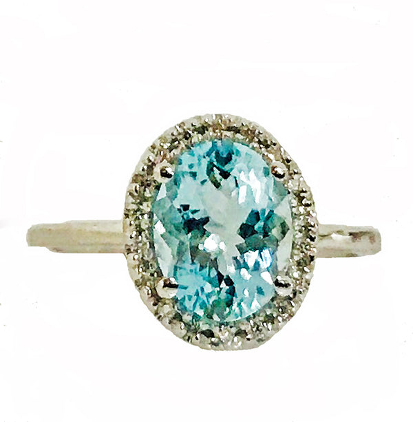 Oval aquamarine halo  pave diamond ring - EMPEROR JEWELRY CO L.L.C