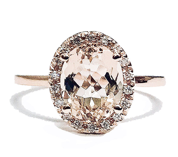 Oval morganite center halo diamond ring - EMPEROR JEWELRY CO L.L.C