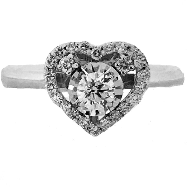 illusion set heart shaped diamond engagement ring - EMPEROR JEWELRY CO L.L.C