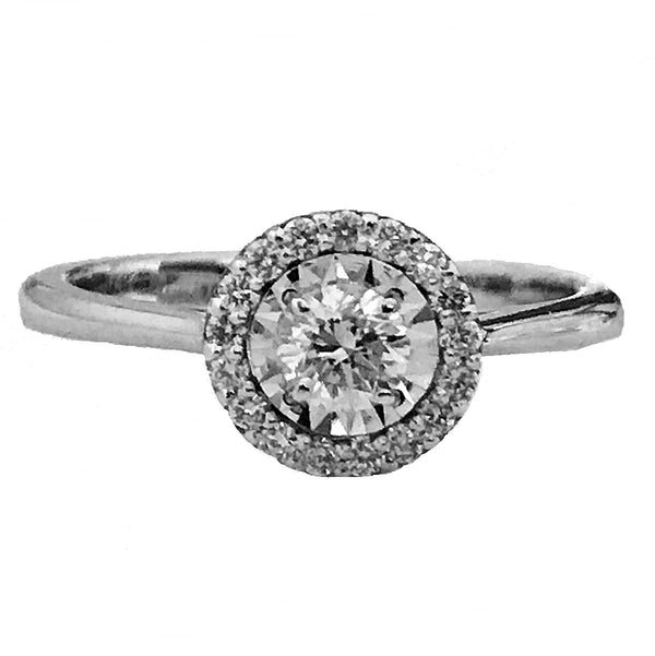 Illusion setting halo  Pave' diamond engagement ring45 - EMPEROR JEWELRY CO L.L.C