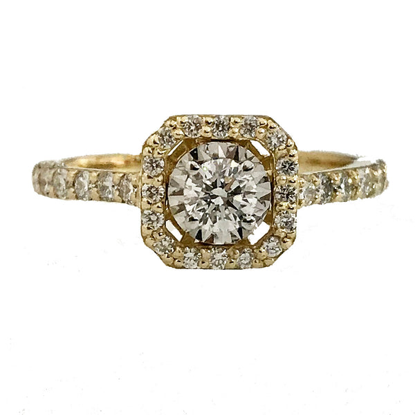 Illusion seting halo diamond engagement ring - EMPEROR JEWELRY CO L.L.C