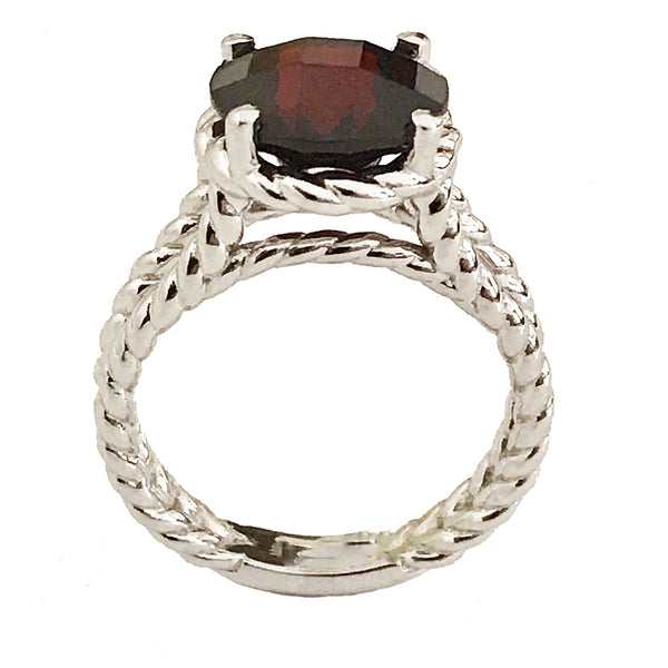 Twisted rope wire garnet ring - EMPEROR JEWELRY CO L.L.C