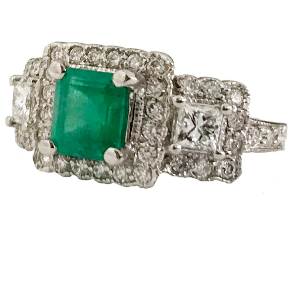 Princess and round diamond milgrain emerald ring