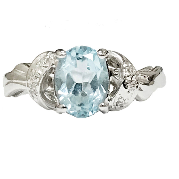 Oval Aquamarine and pave' diamond cocktail  ring - EMPEROR JEWELRY CO L.L.C