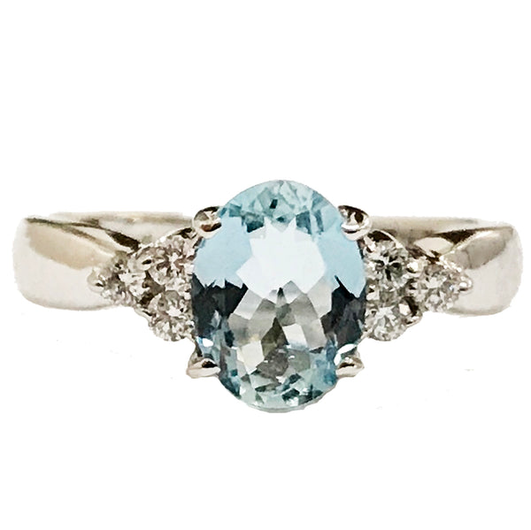 Oval aquamarine diamond cocktail ring - EMPEROR JEWELRY CO L.L.C
