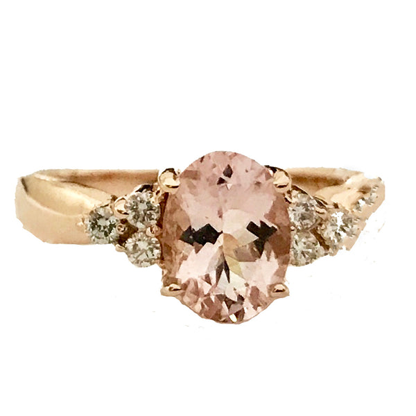 Morganite center stone diamond cocktail ring - EMPEROR JEWELRY CO L.L.C