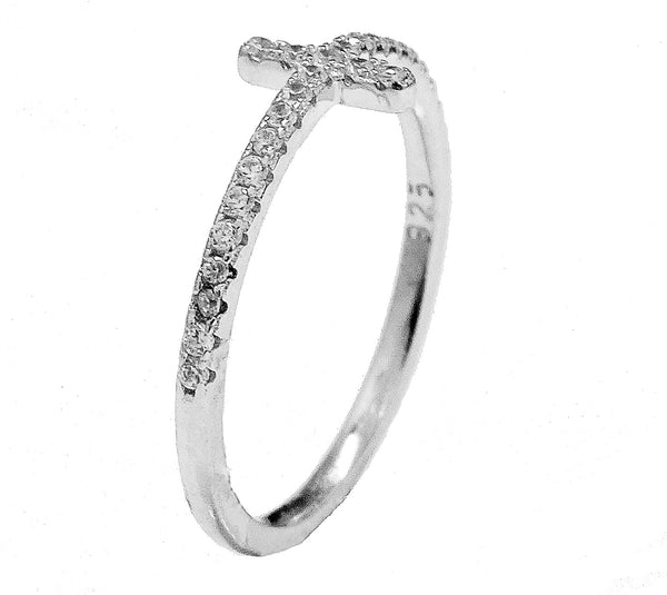 Sterling silver with cubic zirconia cross ring