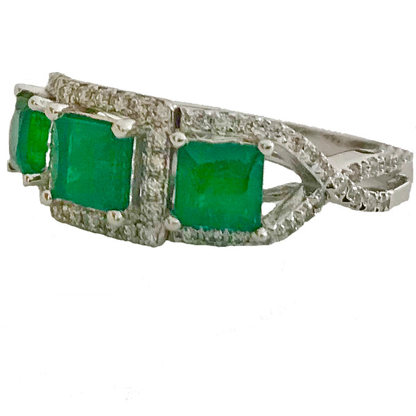 Diamond and dark green princes cut emerald ring