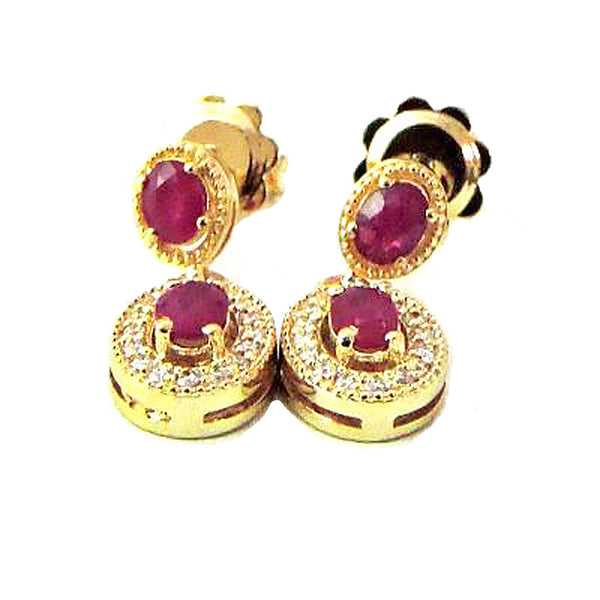 Dangling oval ruby and  diamond earrings - EMPEROR JEWELRY CO L.L.C