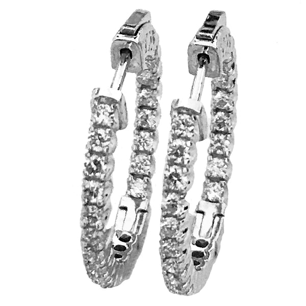 25mm diamond hoop earrings- 1 inch