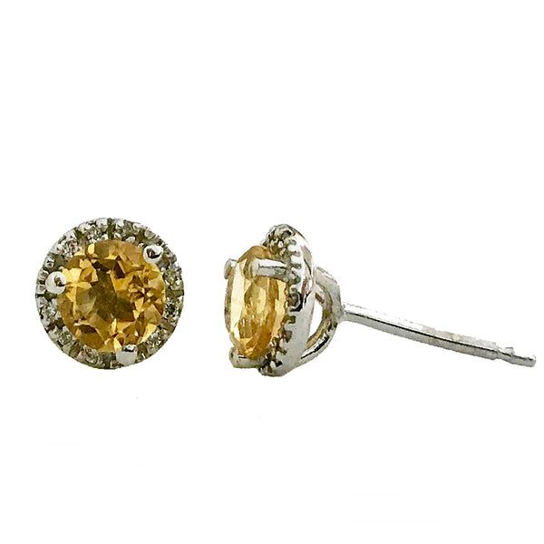 Halo diamond and center stone  citrine earrings(November birthstone) - EMPEROR JEWELRY CO L.L.C