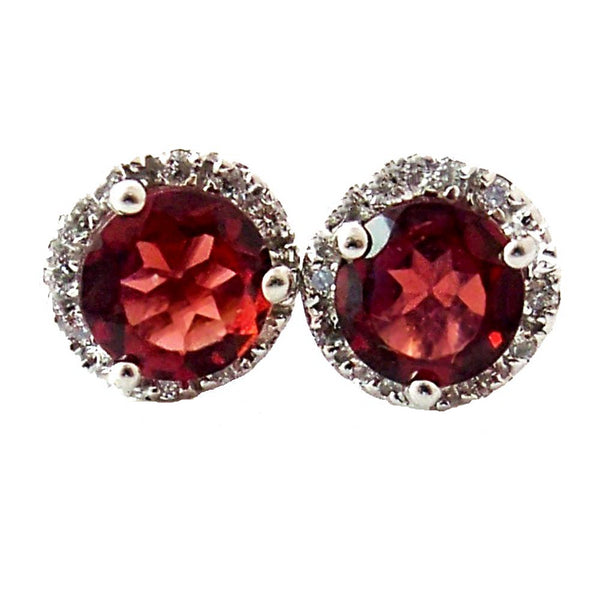 Halo pave diamond round  garnet center stone earrigs - EMPEROR JEWELRY CO L.L.C