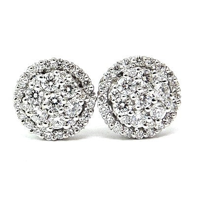 Floral pave' diamond earrings - EMPEROR JEWELRY CO L.L.C
