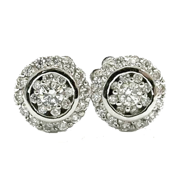 Floral halo pave and pressure point setting diamond earrings - EMPEROR JEWELRY CO L.L.C