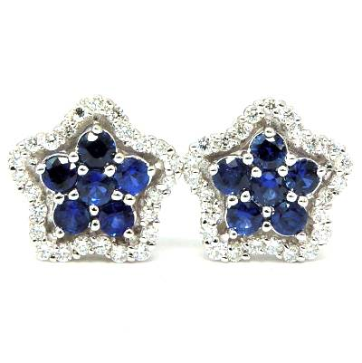 Halo pave and prong floral sapphire and diamond earrings - EMPEROR JEWELRY CO L.L.C