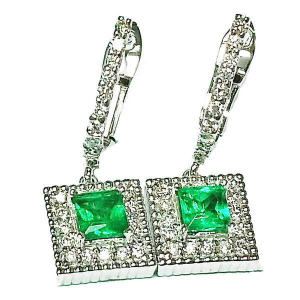 Dangling diamond and light green princess cut emerald diamond  earrings - EMPEROR JEWELRY CO L.L.C