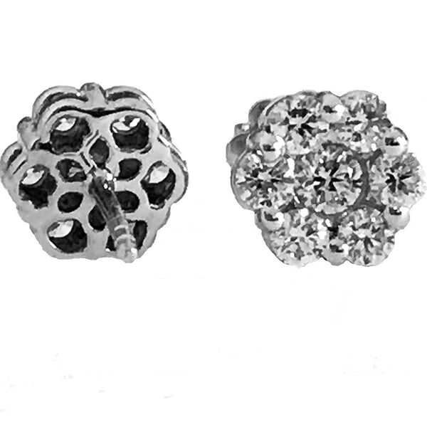 Floral Invisible setting diamond earrings - EMPEROR JEWELRY CO L.L.C
