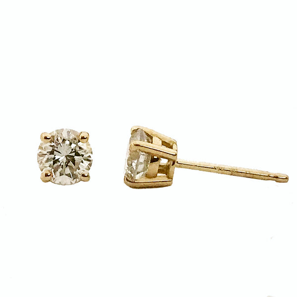 Diamond stud earrings in yellow gold - EMPEROR JEWELRY CO L.L.C