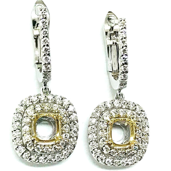 Double halo dangling diamond semi mount earrings - EMPEROR JEWELRY CO L.L.C