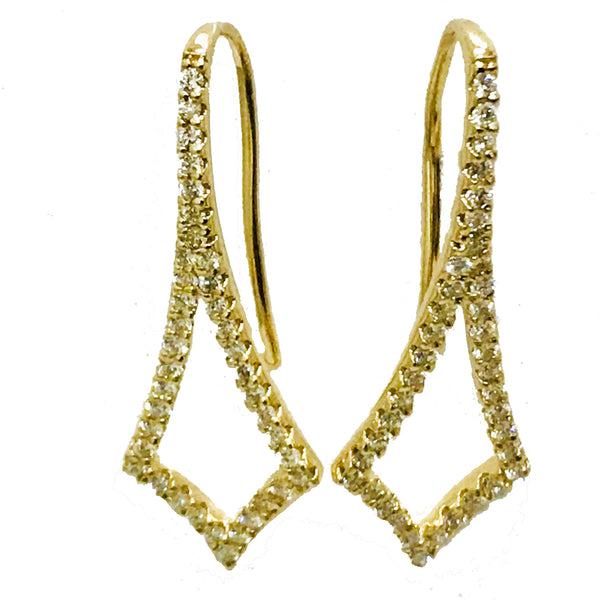 Designer  hook pave diamond earrings - EMPEROR JEWELRY CO L.L.C