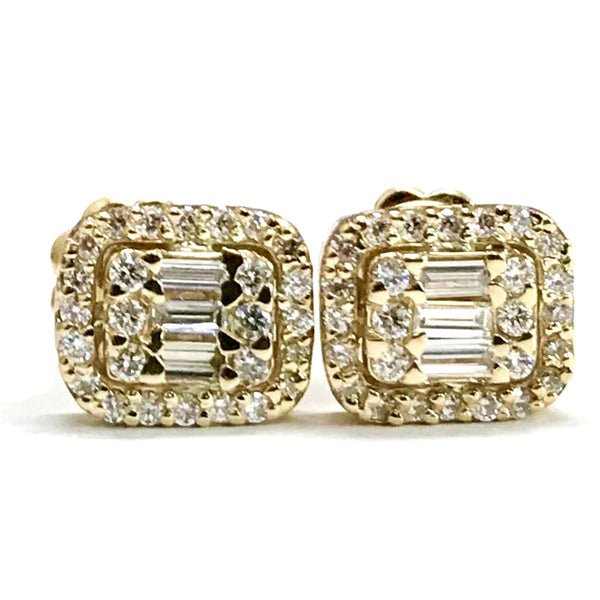 Baguette and round diamond earrings -