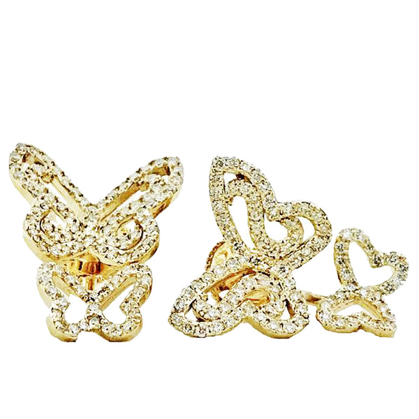 Double Butterfly diamond pave earrings - EMPEROR JEWELRY CO L.L.C