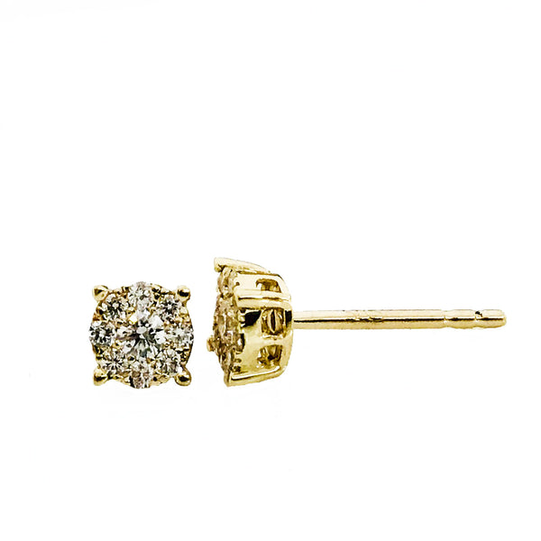 Invisible setting cluster diamond  earrings 1/3 carat - EMPEROR JEWELRY CO L.L.C