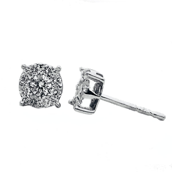 Invisible setting halo diamond earrings 1/2 carat - EMPEROR JEWELRY CO L.L.C