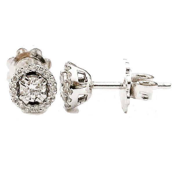 Halo pave and prong diamond earrings - EMPEROR JEWELRY CO L.L.C