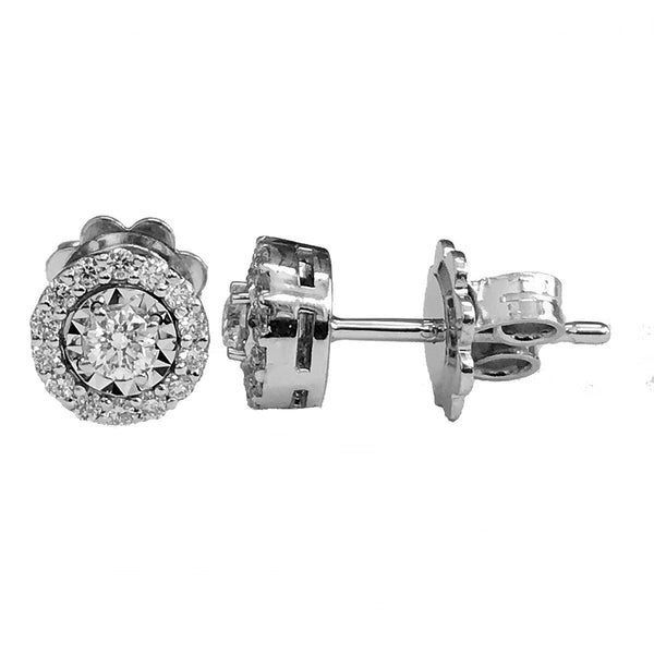 Illusion setting halo diamond earrings-15 - EMPEROR JEWELRY CO L.L.C