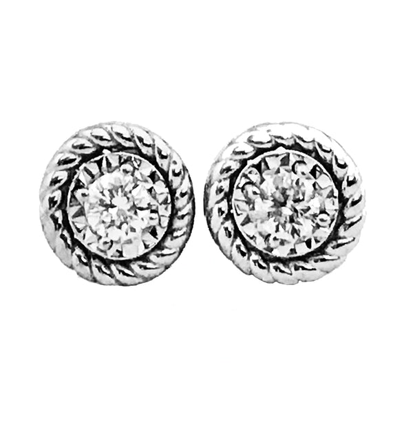 Illusion solitaire diamond earrings-05 - EMPEROR JEWELRY CO L.L.C
