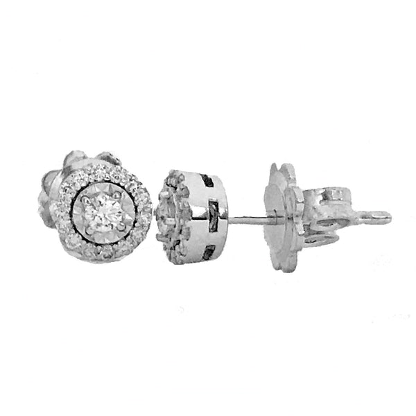 Dainty Illusion setting halo diamond earrings-05 - EMPEROR JEWELRY CO L.L.C