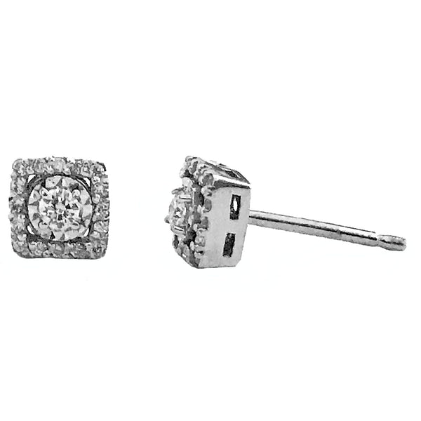 Illusion setting halo diamond earrings - EMPEROR JEWELRY CO L.L.C
