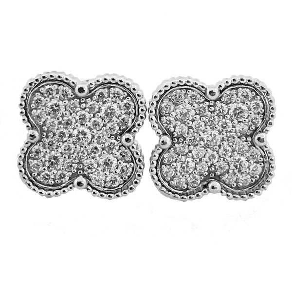 Four leaf clover diamond earrings